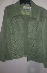 Alfred Dunner Green Zip Front Jacket 14 Plus